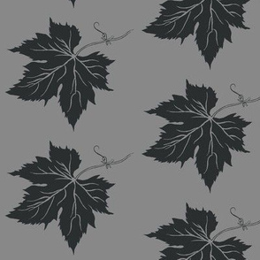 Charcoal Hop Leaf on Grey