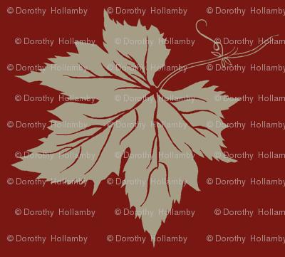 Old Linen Hop Leaf on Red