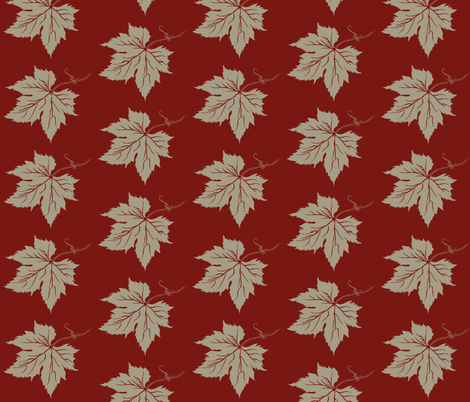 Old Linen Hop Leaf on Red fabric by a_bushel_of_hops on Spoonflower - custom fabric