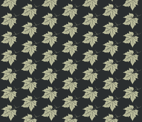 Pale Green Hop Leaf on Charcoal fabric by a_bushel_of_hops on Spoonflower - custom fabric