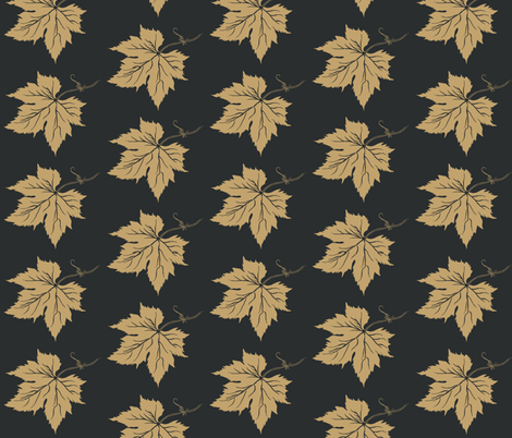 A Pale Mustard Hop Leaf on Charcoal fabric by a_bushel_of_hops on Spoonflower - custom fabric