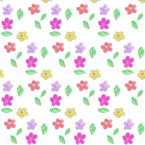 Fresh Flowers multi fabric by colour_angel_by_kv on Spoonflower - custom fabric