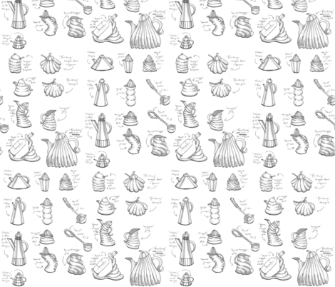 Kitchenware Sampler monochrome fabric by colour_angel_by_kv on Spoonflower - custom fabric