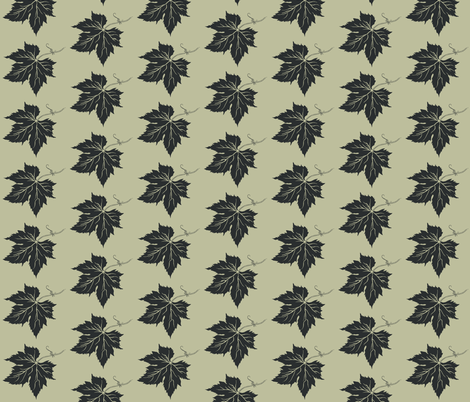 Charcoal Hop Leaf on Pale Green fabric by a_bushel_of_hops on Spoonflower - custom fabric