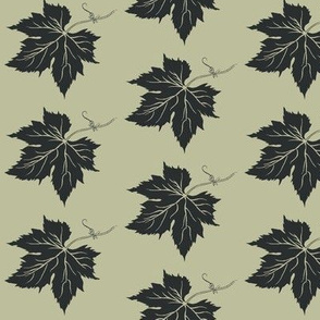 Charcoal Hop Leaf on Pale Green