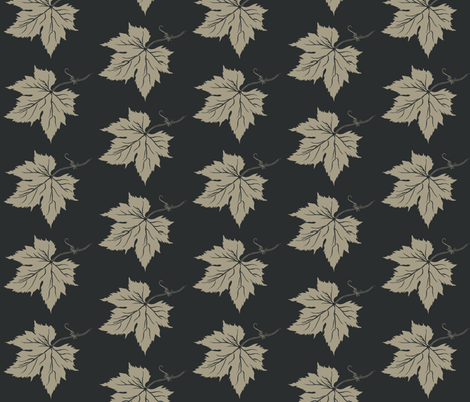 Old Linen Hop Leaves on Charcoal fabric by a_bushel_of_hops on Spoonflower - custom fabric