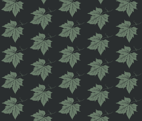 Dark Green Hop Leaves on Charcoal fabric by a_bushel_of_hops on Spoonflower - custom fabric