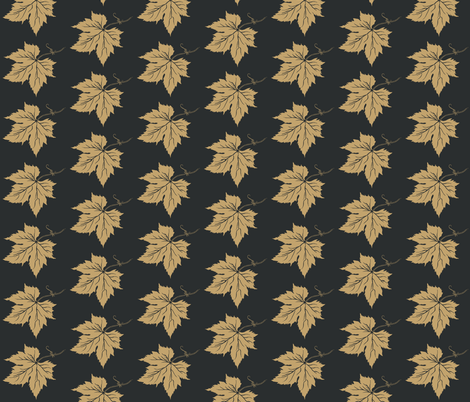 Pale Mustard Hop Leaves onCharcoal fabric by a_bushel_of_hops on Spoonflower - custom fabric