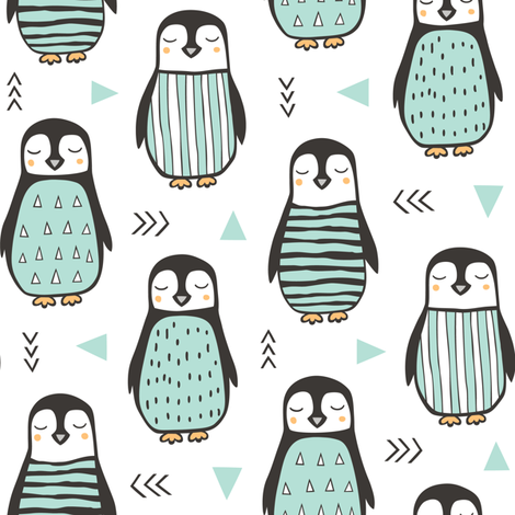 Penguins Black&White with Sweater Geometric  and Triangles Mint fabric by caja_design on Spoonflower - custom fabric
