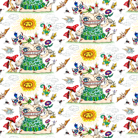 She-Beast and Friends, small scale, white rainbow colorful fabric by amy_g on Spoonflower - custom fabric