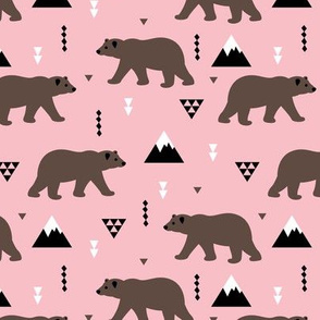 Grizzly bear woodland and geometric triangle mountains fall winter pink