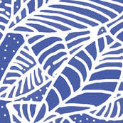 Indigo Batik Leaves - Large