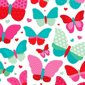 Colorful summer butterfly patchwork love sweet girls fabric pink blue