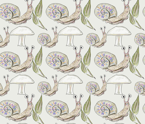 Cute Snails & Mushrooms fabric by boundingsquirrel on Spoonflower - custom fabric