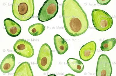 Watercolor Avocado Painted Print