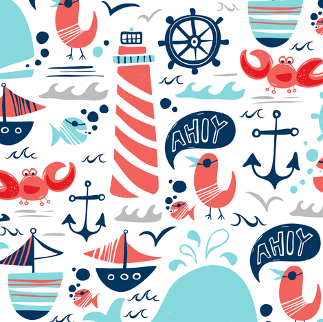 Ahoy Matey - Summer Nautical fabric by heatherdutton on Spoonflower - custom fabric