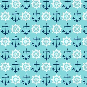 Anchors Away - Nautical Aqua Blue