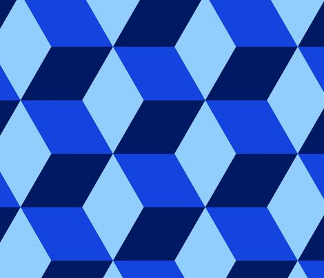 hexed in blue fabric by danikaherrick on Spoonflower - custom fabric
