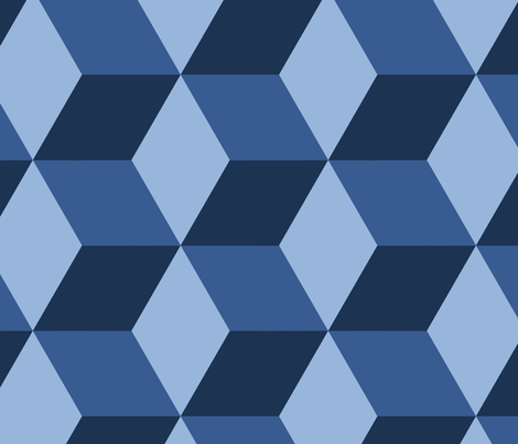 hexed in blue fabric by danika_herrick on Spoonflower - custom fabric