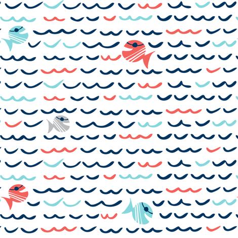 Choppy Waters - Nautical Fish & Waves fabric by heatherdutton on Spoonflower - custom fabric