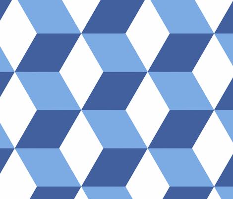 Hexed in blue and white fabric by danika_herrick on Spoonflower - custom fabric