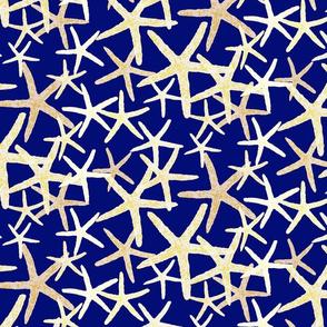 Starfish in White & Yellow Tones on Dark Blue