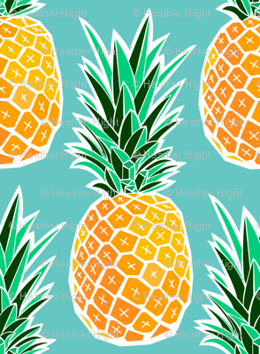 Tropical Pineapple - Turquoise Geometric Fruit