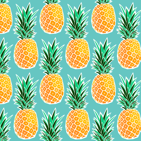 Tropical Pineapple - Turquoise Geometric Fruit fabric by heatherhightdesign on Spoonflower - custom fabric