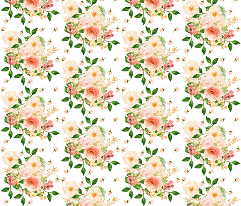 "10.5"" Floral Peach Delight - Large Print fabric by shopcabin on Spoonflower - custom fabric"