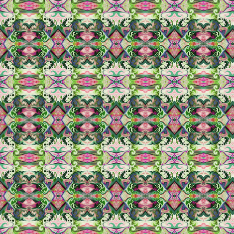 BNS4 - Mini Lacy Illusions Curlicue in moss green - mauve pastel - cadet blue - maroon fabric by maryyx on Spoonflower - custom fabric