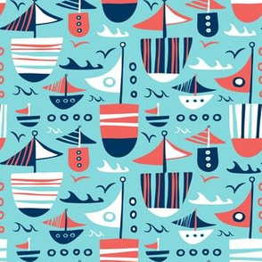 Set Sail - Nautical Boats Aqua Blue