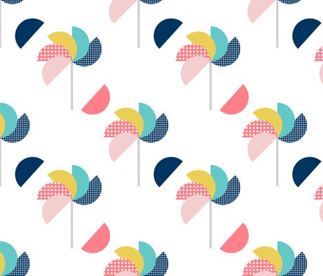 Pinwheels White fabric by amandacallcott on Spoonflower - custom fabric