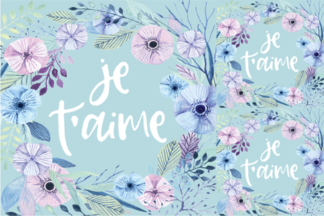 je t'aime blanket + 2 loveys fabric by kookinutsfabricco on Spoonflower - custom fabric