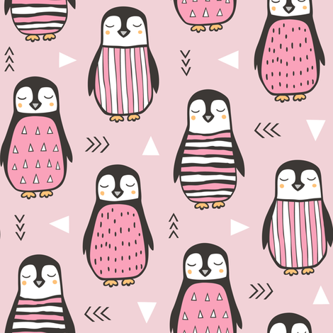Penguins with Geometric and Triangles Pink fabric by caja_design on Spoonflower - custom fabric