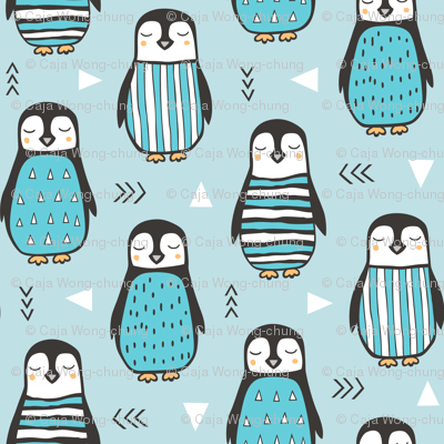Penguins with Sweater Geometric  and Triangles in Aqua Blue