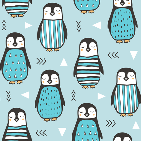 Penguins with Sweater Geometric  and Triangles in Aqua Blue fabric by caja_design on Spoonflower - custom fabric