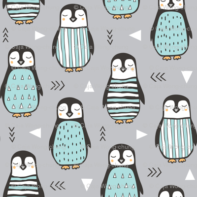 Penguins with Sweater Geometric  and Triangles Grey