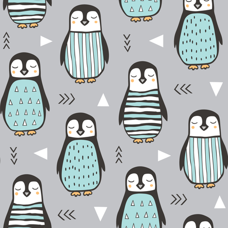 Penguins with Sweater Geometric  and Triangles Grey fabric by caja_design on Spoonflower - custom fabric