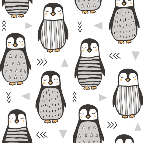 Penguins Black&White  with Sweater Geometric and Triangles  in Grey on White fabric by caja_design on Spoonflower - custom fabric