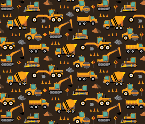Construction: Roadworks Scatter - Brown fabric by samalah on Spoonflower - custom fabric