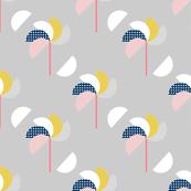 Pinwheels Grey Yellow
