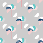 Pinwheels Grey Aqua