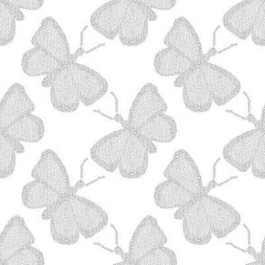 Textured White Butterflies on #FFFFFF