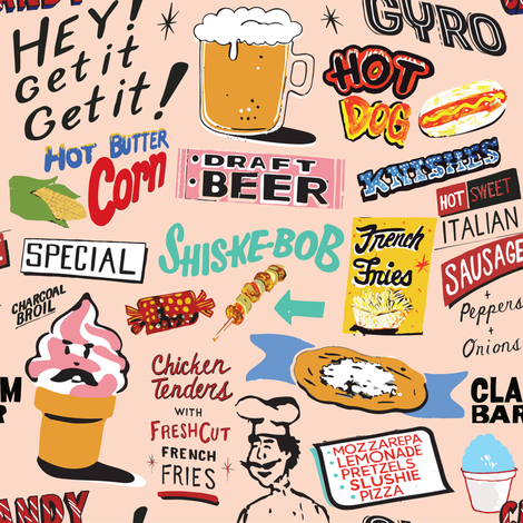 Coney Island Food Signs - Pink fabric by lasirenadesign on Spoonflower - custom fabric