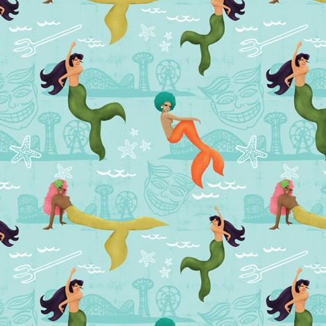 Coney Island Mermaid Parade - Blue fabric by lasirenadesign on Spoonflower - custom fabric