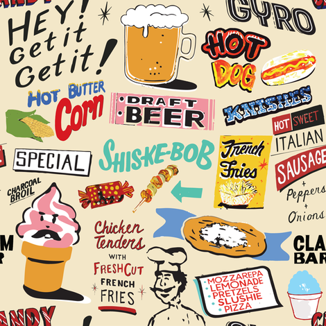 Coney Island Food Signs - Beige fabric by lasirenadesign on Spoonflower - custom fabric