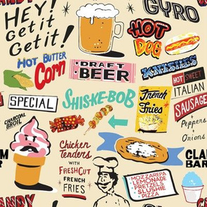 Coney Island Food Signs - Beige