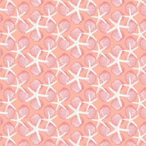 Scallop Shells & Starfish in Bright Orange & Pink Hues with White