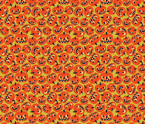 Halloween jacks on yellow fabric by heidikenney on Spoonflower - custom fabric