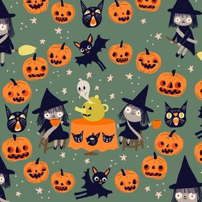 witch fabric green